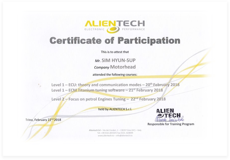 ALENTECH Certificate of Participation